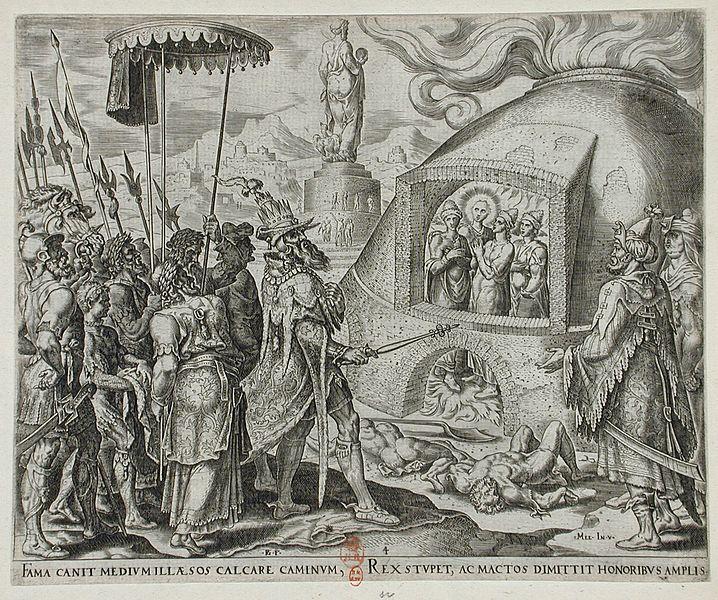 Nebuchadnezzar Seeing Shadrach, Meshach, and Abednego Unhurt in the Flames - Philip Galle (Holland, Haarlem, 1537-1612) image