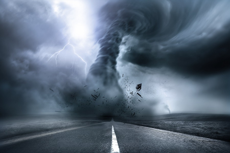 A large storm producing a Tornado causing destruction. Illustration.