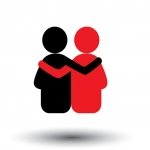 friends hug each other deep relationship & bonding - vector icon. This also represents reunion sharing love emotions human touch friendly embrace support care kindness empathy compassion