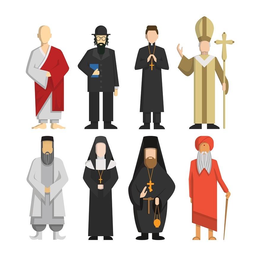 Religion representatives set. Religious culture.