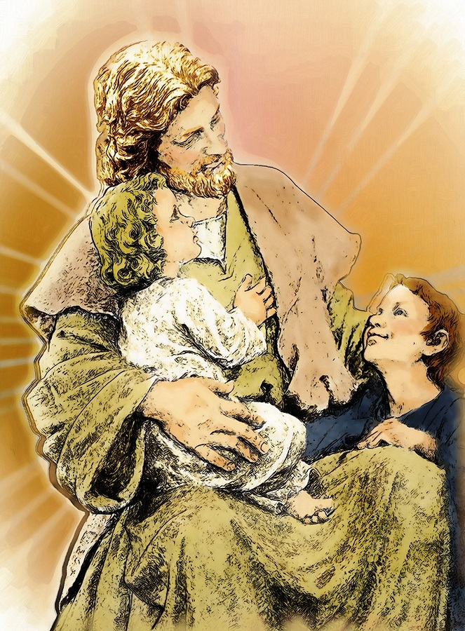 image of Jesus with two small children