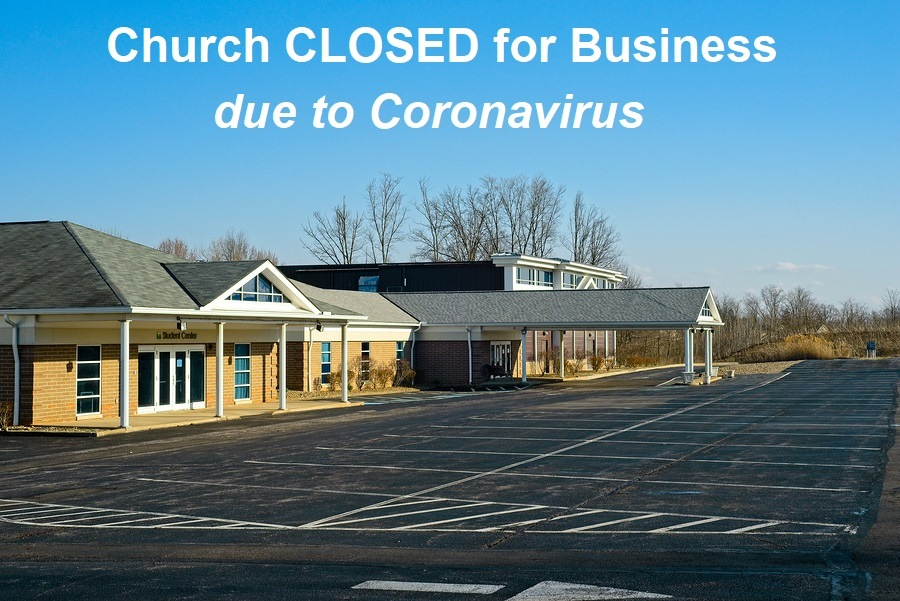 MACEDONIA, OH, USA - MARCH 25, 2020: A church building looks out on an empty parking lot as in-person assemblies are canceled due to the Coronavirus epidemic.
